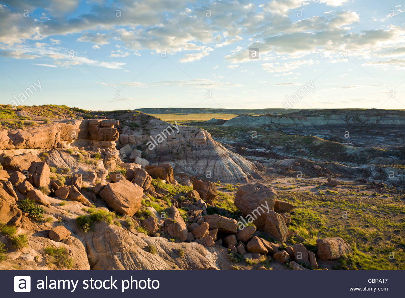 View of the Painted Desert at sunset, Petrified Forest National Park, Arizona, United States - Stock Image