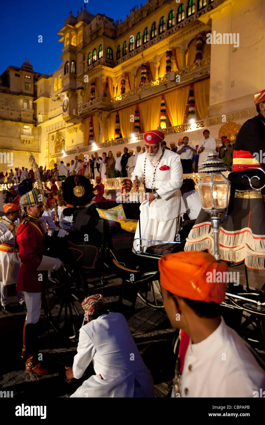Shriji Arvind Singh Mewar of Udaipur, Custodian of the House of Mewar, at Hindu Holi Fire Festival, City Palace, - Stock Image