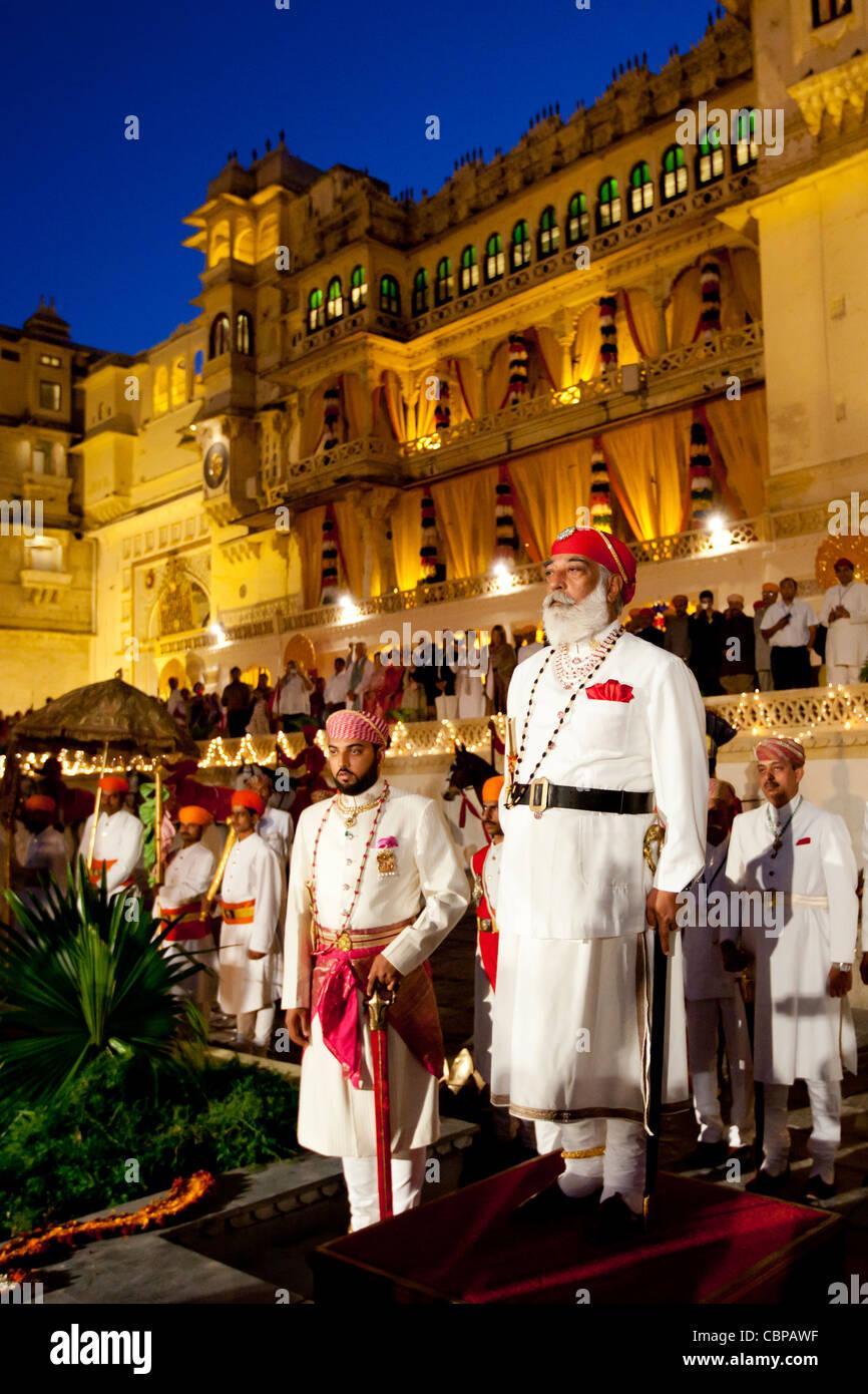Shriji Arvind Singh, Custodian of the House of Mewar, & son Lakshyaraj Singh at Holi Fire Festival, City Palace, - Stock Image