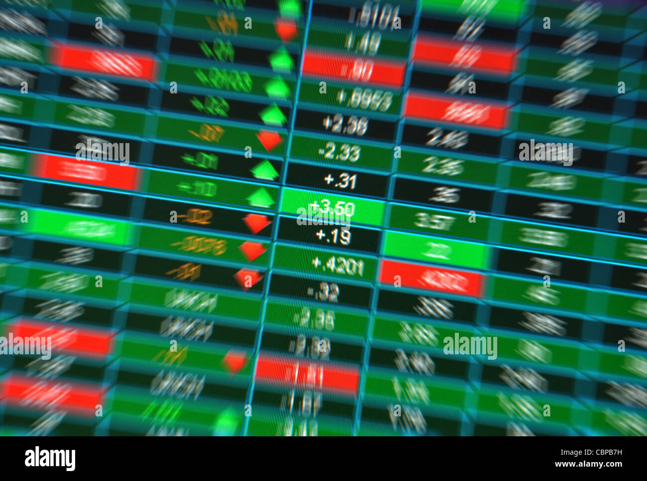 Blurred stock market quotes from a computer screen, Great concept for a fast paced or uncertain market - Stock Image