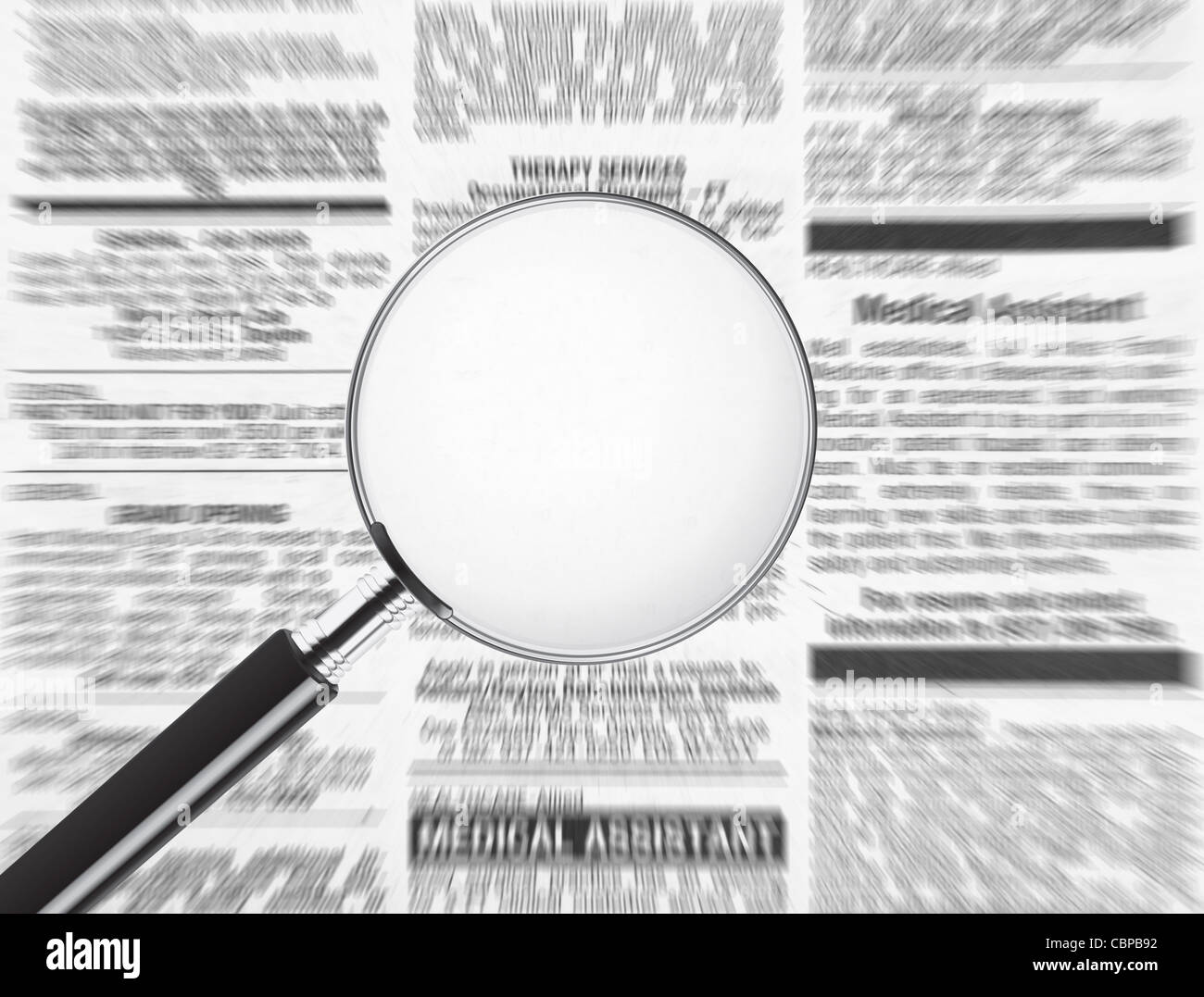 Blank magnifying glass over newspaper. Plenty of room to add text to display your message - Stock Image