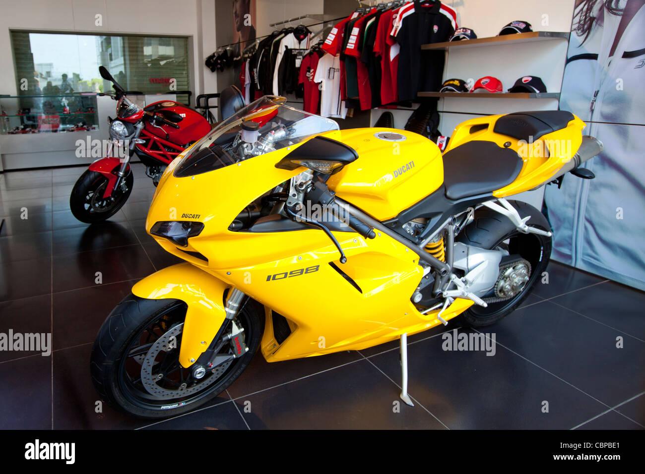 Ducati 1098 motorcycle in dealership showroom in Worli district of Mumbai, formerly Bombay, Maharashtra, India - Stock Image