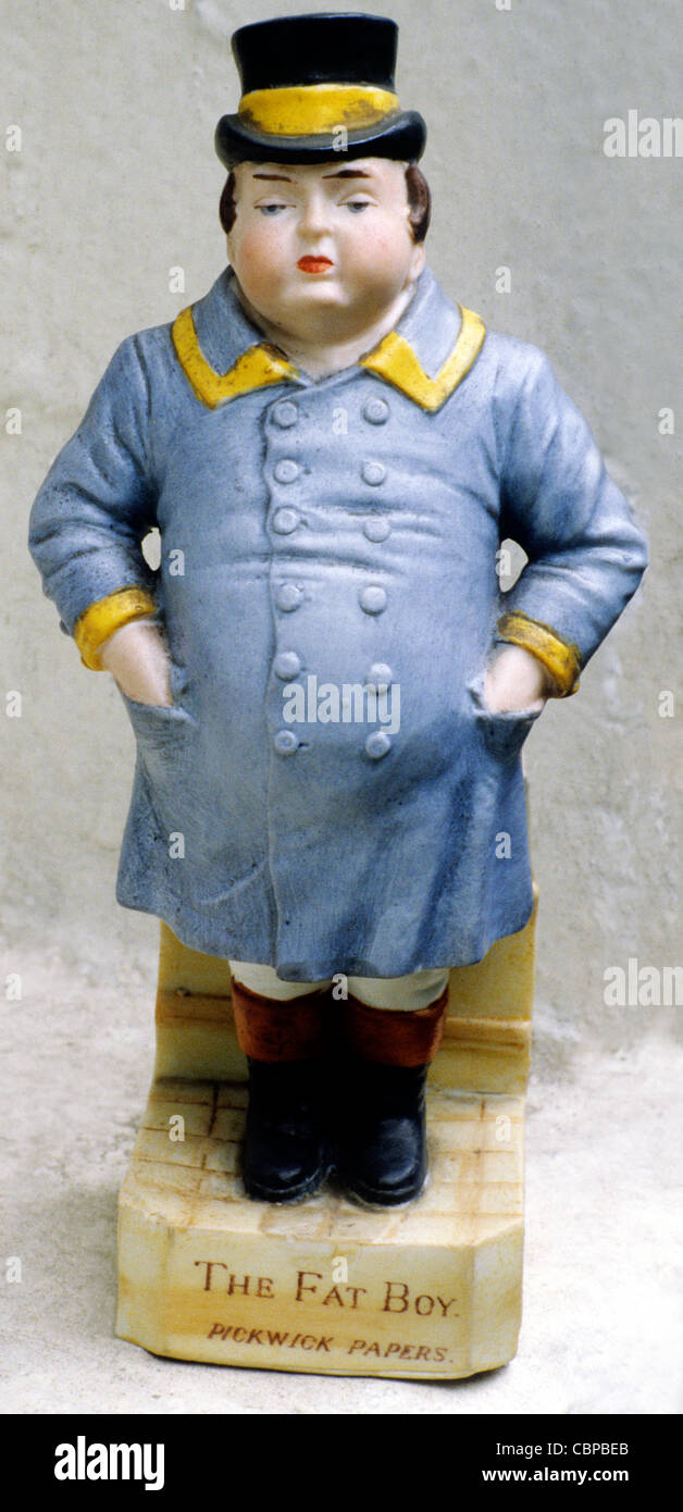 The Fat Boy, Pickwick Papers, porcelain figure figures Charles Dickens character characters figurine figurines - Stock Image