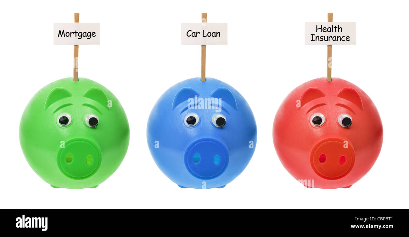 Piggy Banks with Sign Boards - Stock Image