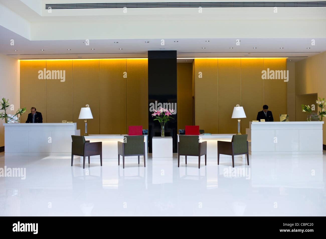 Lobby and Reception area in the 5-star Oberoi Mumbai Hotel at Nariman Point, Mumbai, formerly Bombay, Maharashtra, - Stock Image