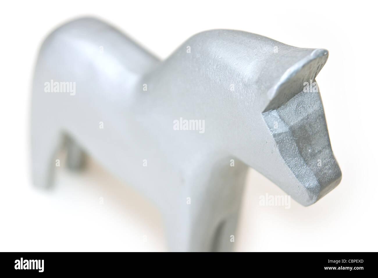 Silver dala horse - Stock Image