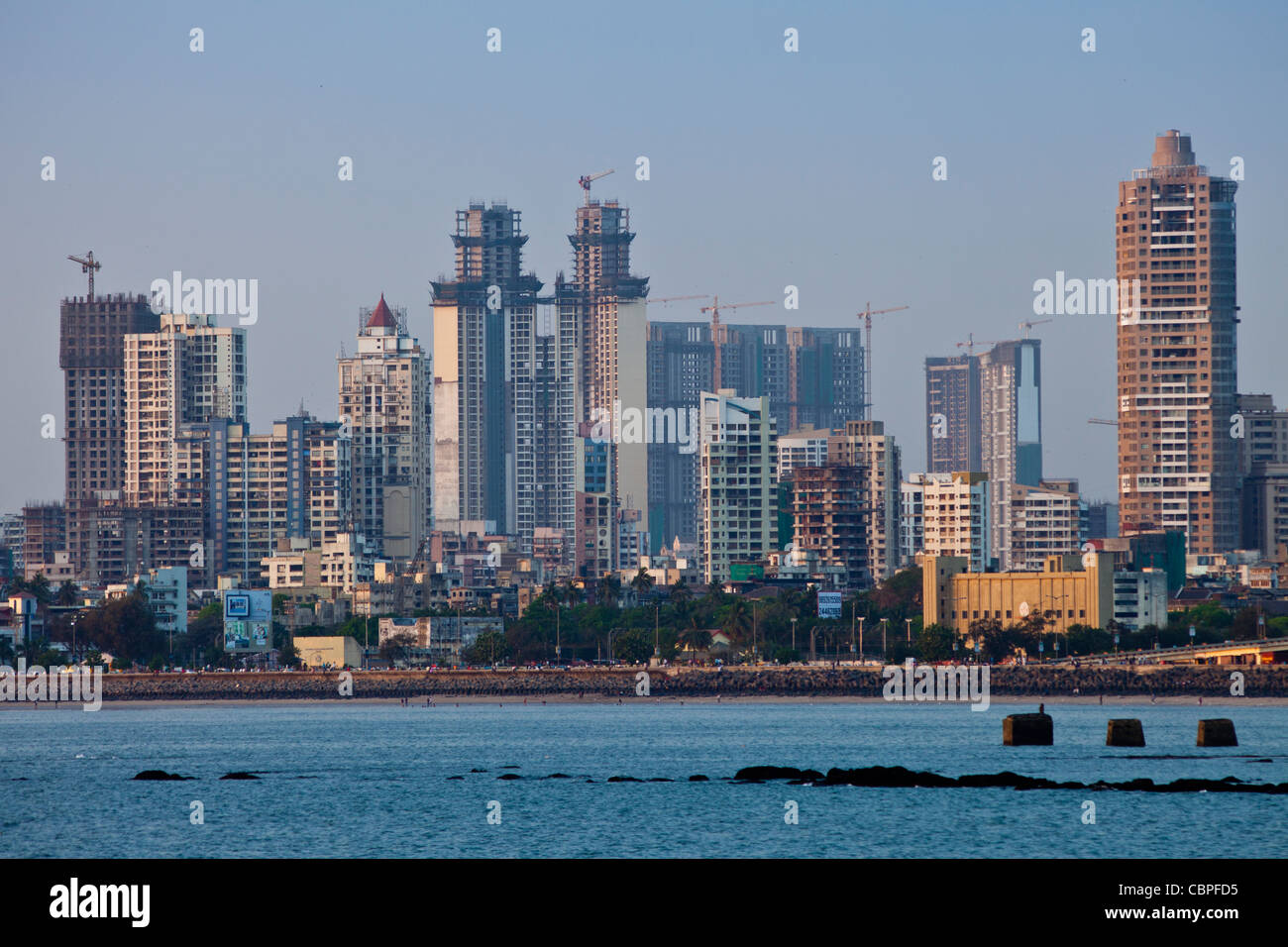 Developing business district shows economic growth by Imperial twin towers in Tardeo South Mumbai, India from Nariman - Stock Image