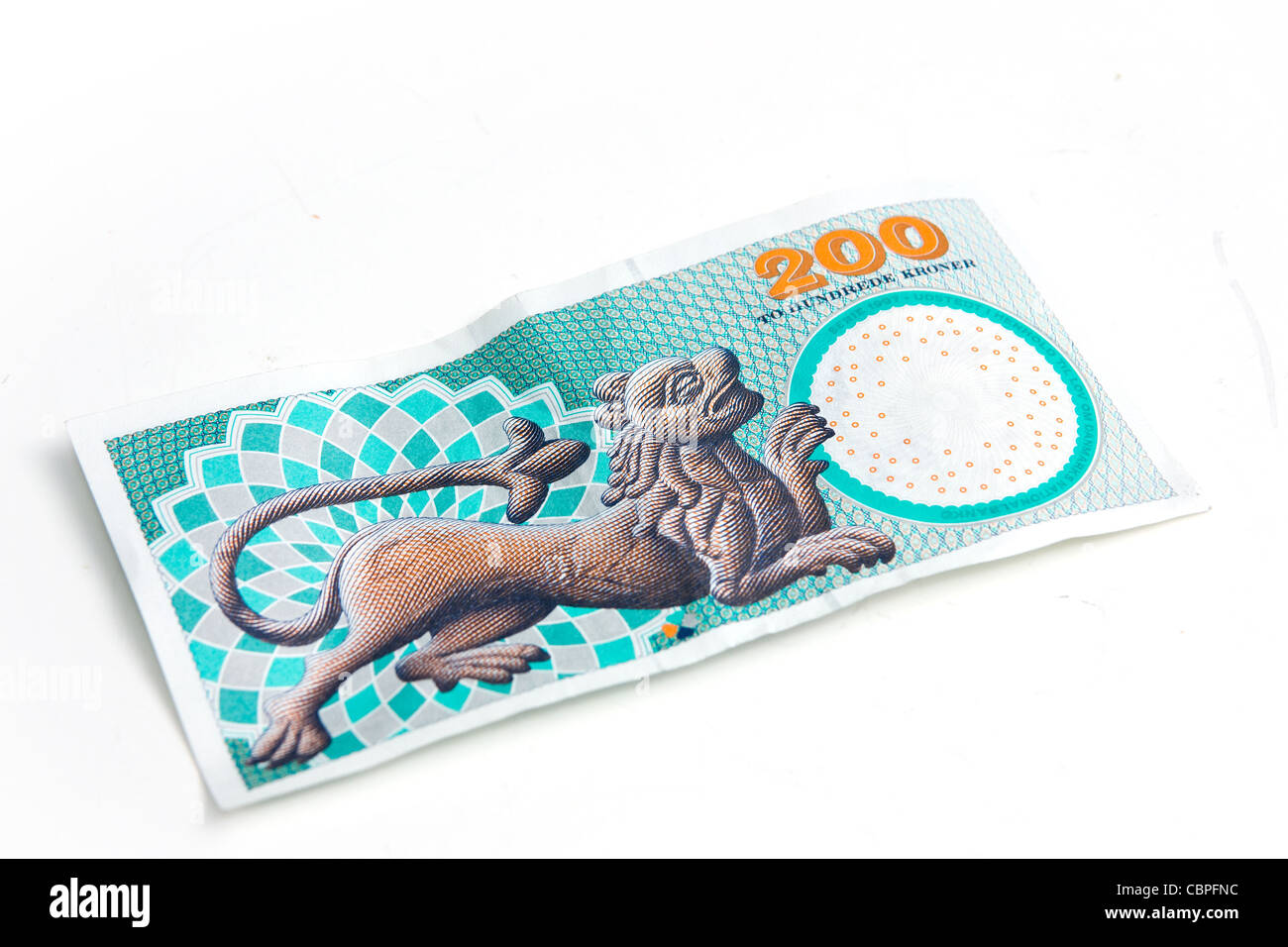 Danish two hundred bill - Stock Image