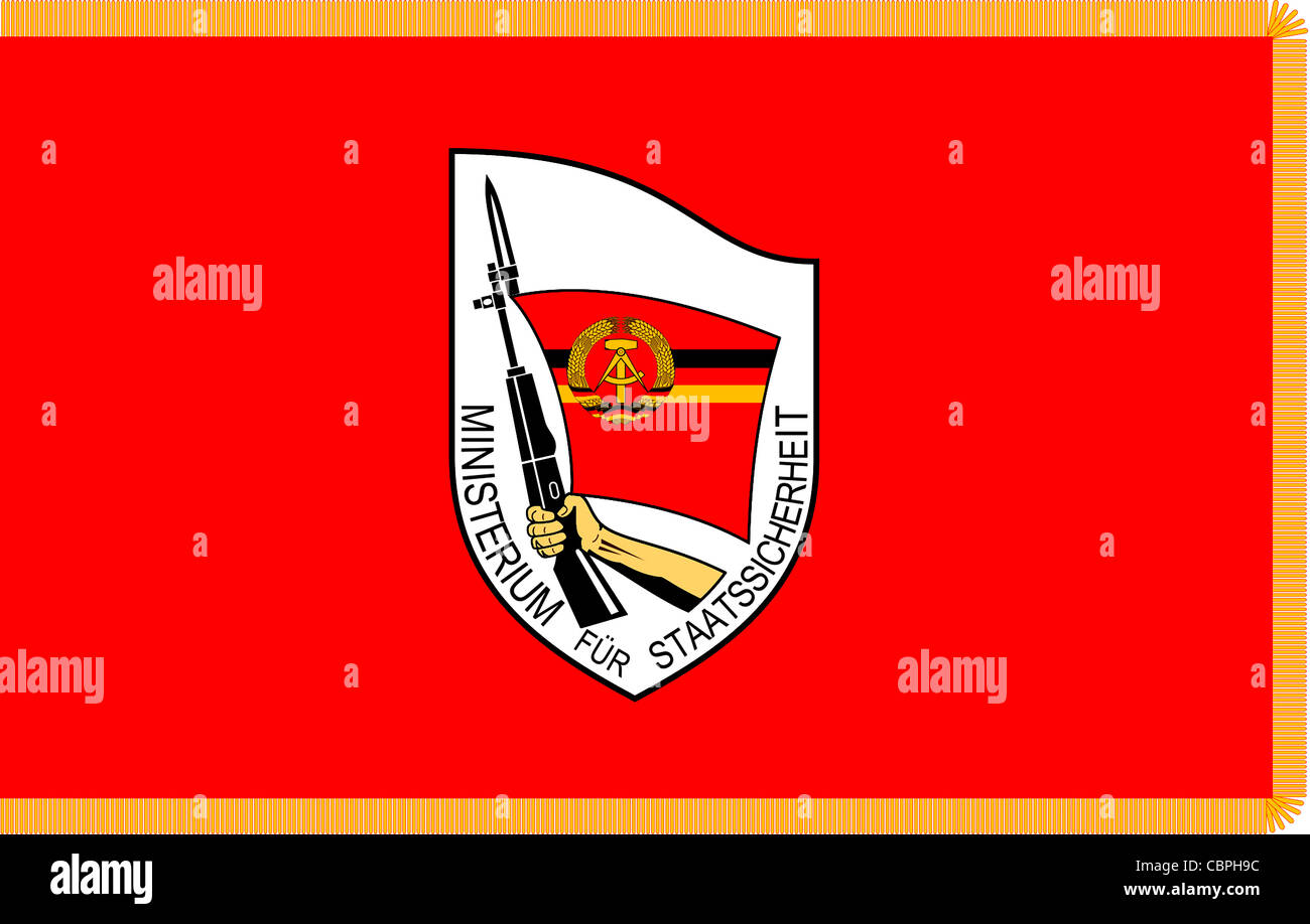 Flag of the Ministry of State Security of the German Democratic Republic GDR with the logo of the secret service. - Stock Image