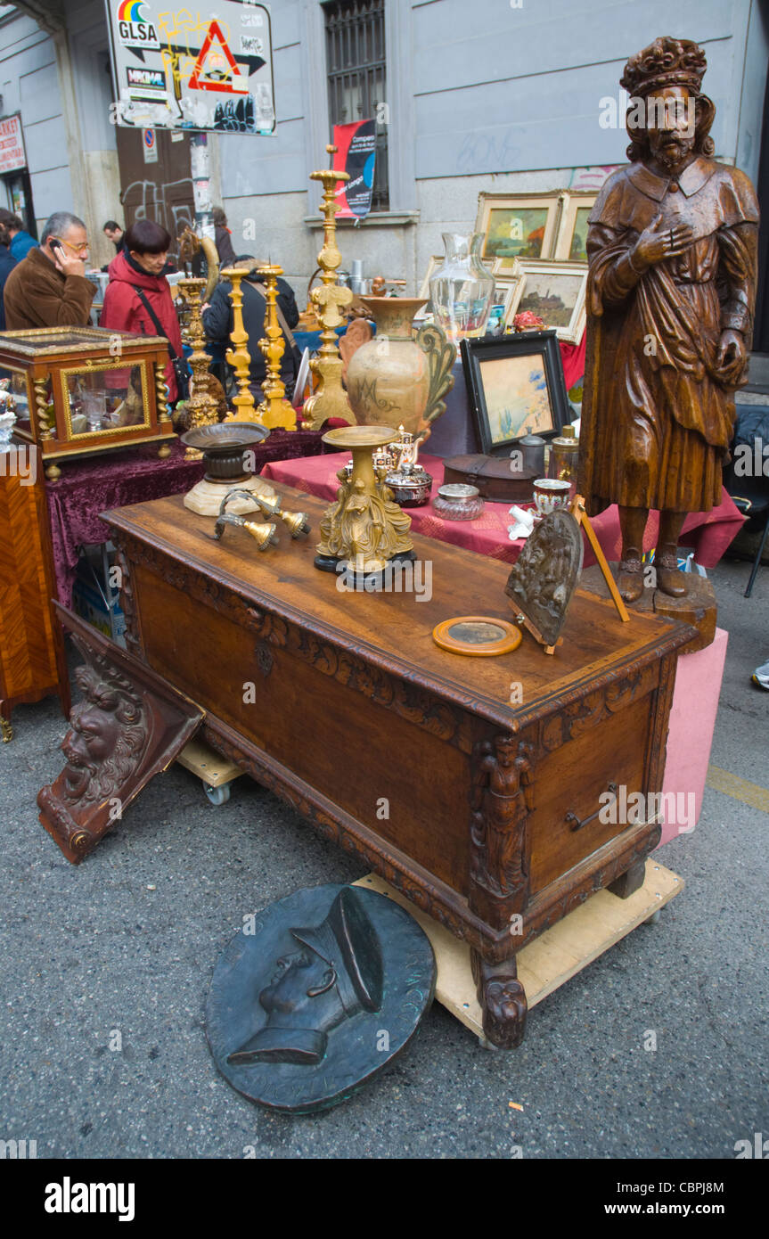 Antiques market during last sunday of month Navigli district Milan Lombardy region Italy Europe - Stock Image