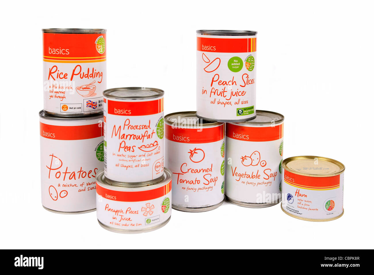 Cheap Basic canned foods on offer at a supermarket for families on low incomes - Stock Image