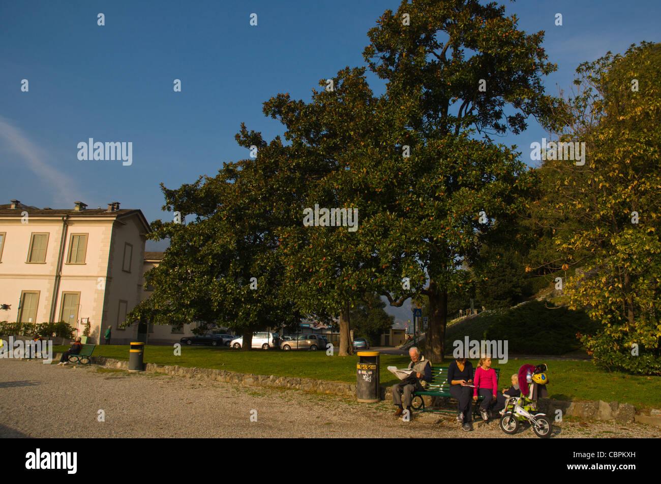 Lido Villa Geno.Park In Front Of Lido Di Villa Geno Near Como Town Lombardy