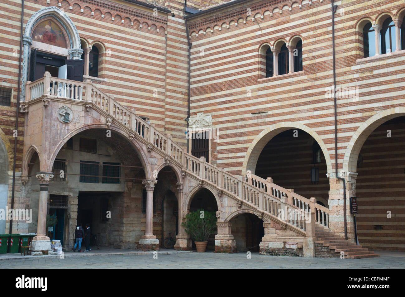 Scala della Ragione stairs at Corte Mercato Vecchio square old town Verona the Veneto region northern Italy Europe - Stock Image