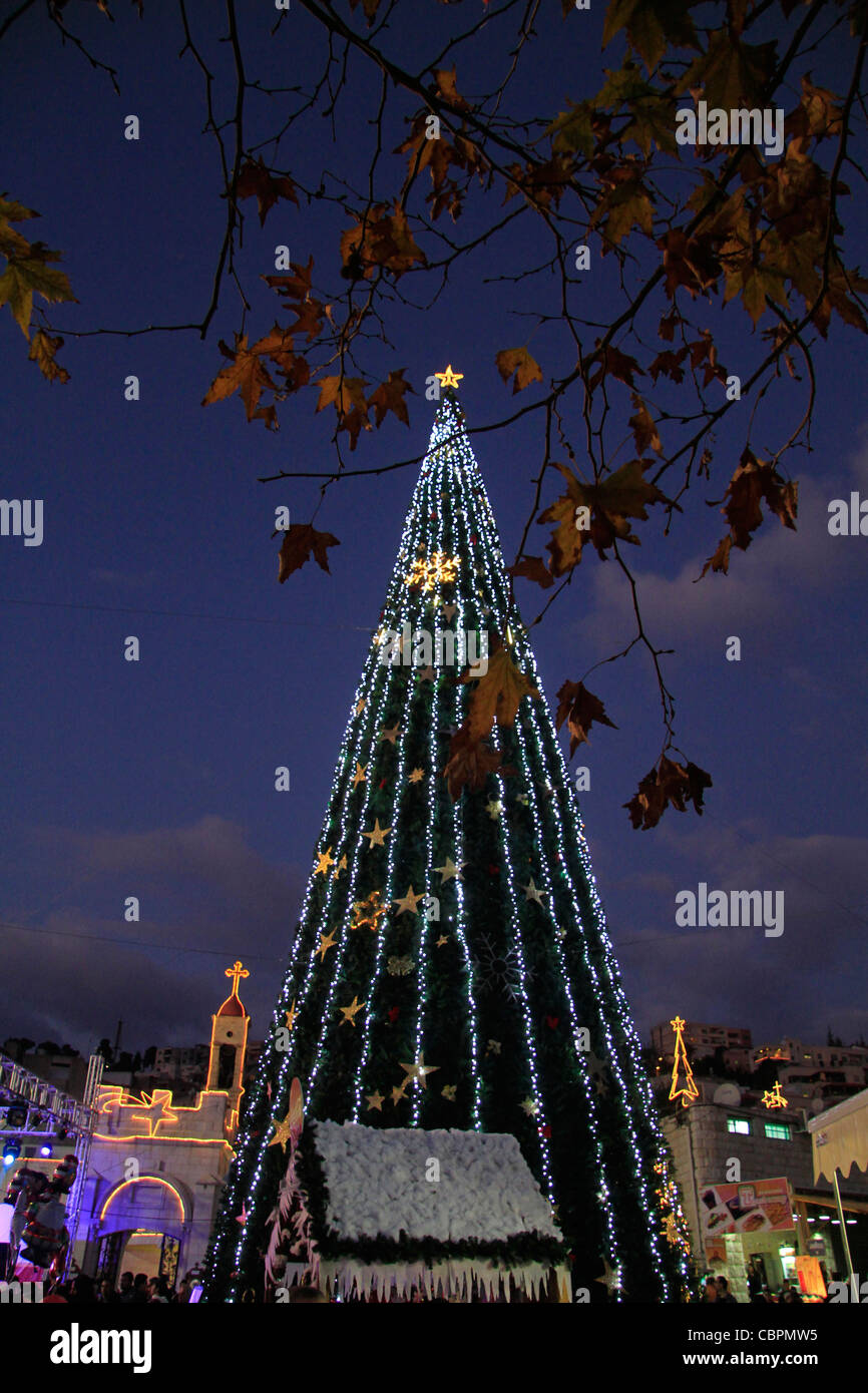 Israel, Lower Galilee, Christmas in Nazareth in front of St. Gabriel Church Stock Photo