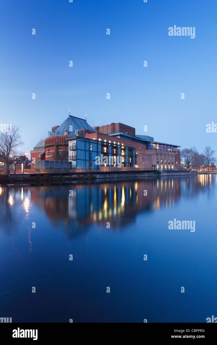 Royal Shakespeare Theatre on the River Avon at Dusk. Stratford-upon-Avon. Warwickshire. England. UK. - Stock Image