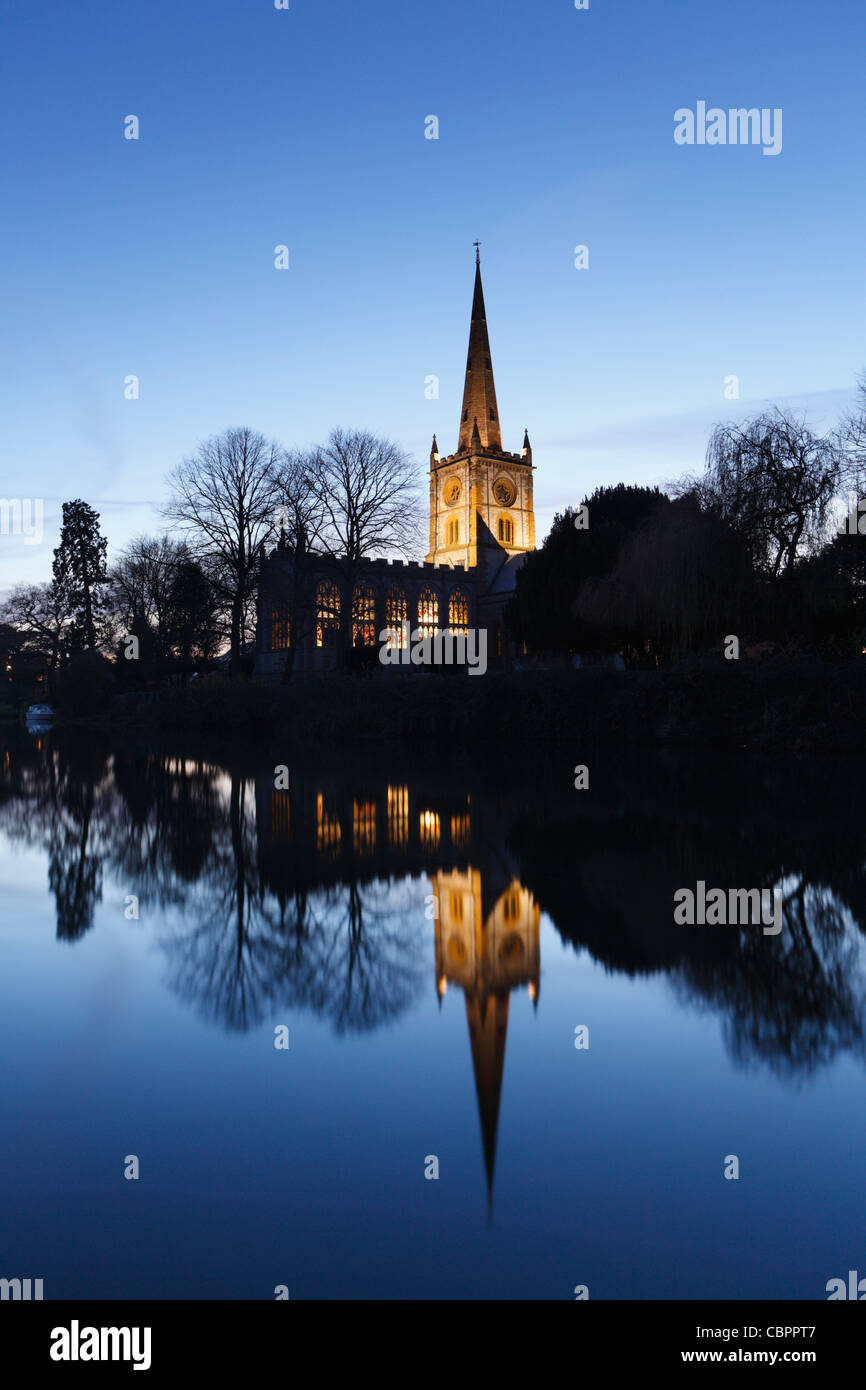 Holy Trinity Church at Dusk. Stratford-upon-Avon, Warwickshire, England, UK.  Burial Place of William Shakespeare. - Stock Image