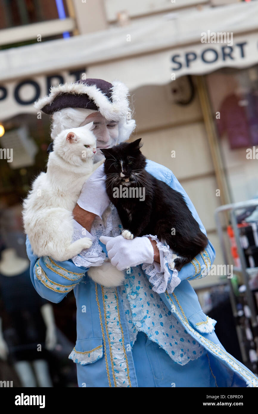 Dressed street entertainer and his two cats performing in Market place Old Town Toulon France - Stock Image