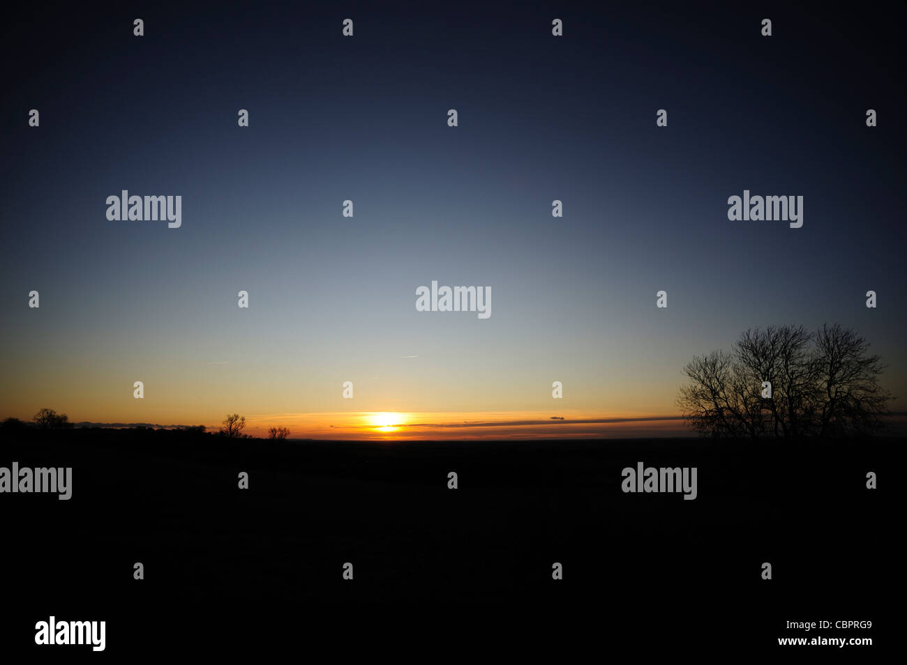 Sunset Winter Lincolnshire showing wave patterns - Stock Image