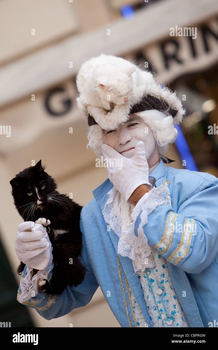 Dressed street entertainer and his two cats performing in Market place Old Town Toulon France, using expressive - Stock Image