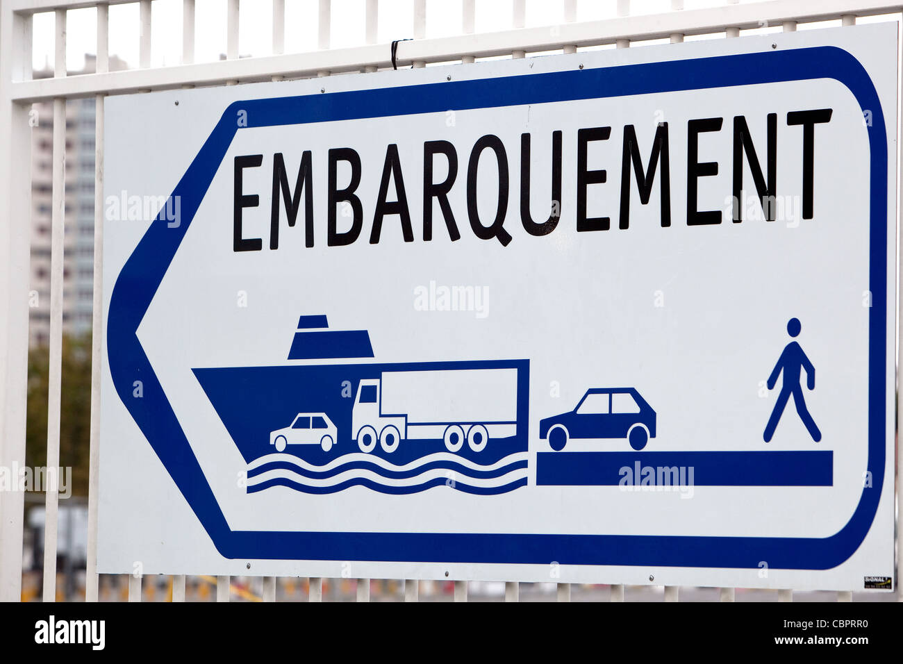 Embarkation sign for ferries at the port of Toulon France - Stock Image