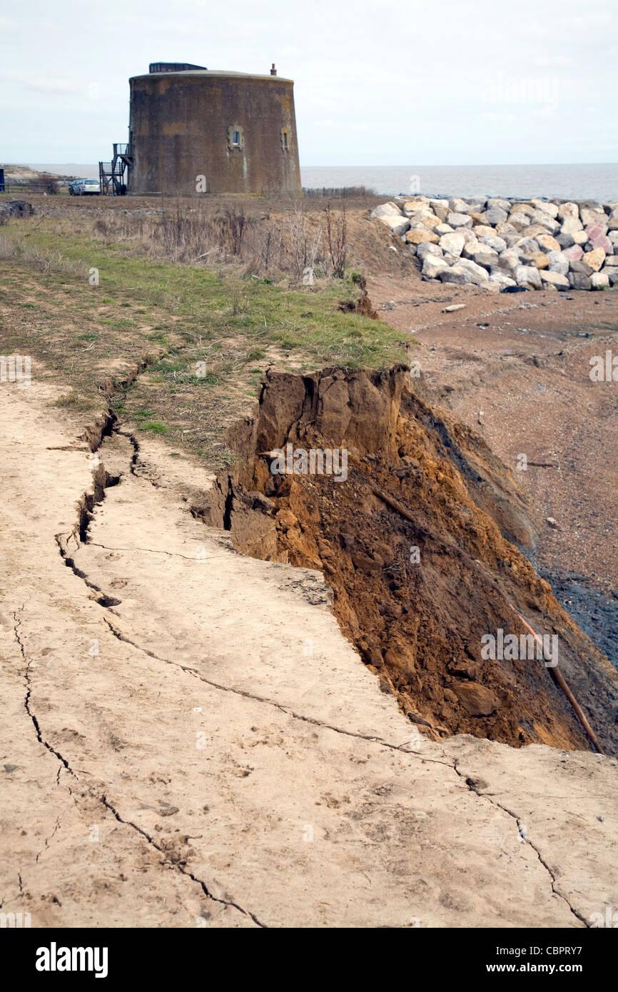 Coastal erosion martello tower at risk, East Lane, Bawdsey, Suffolk - Stock Image