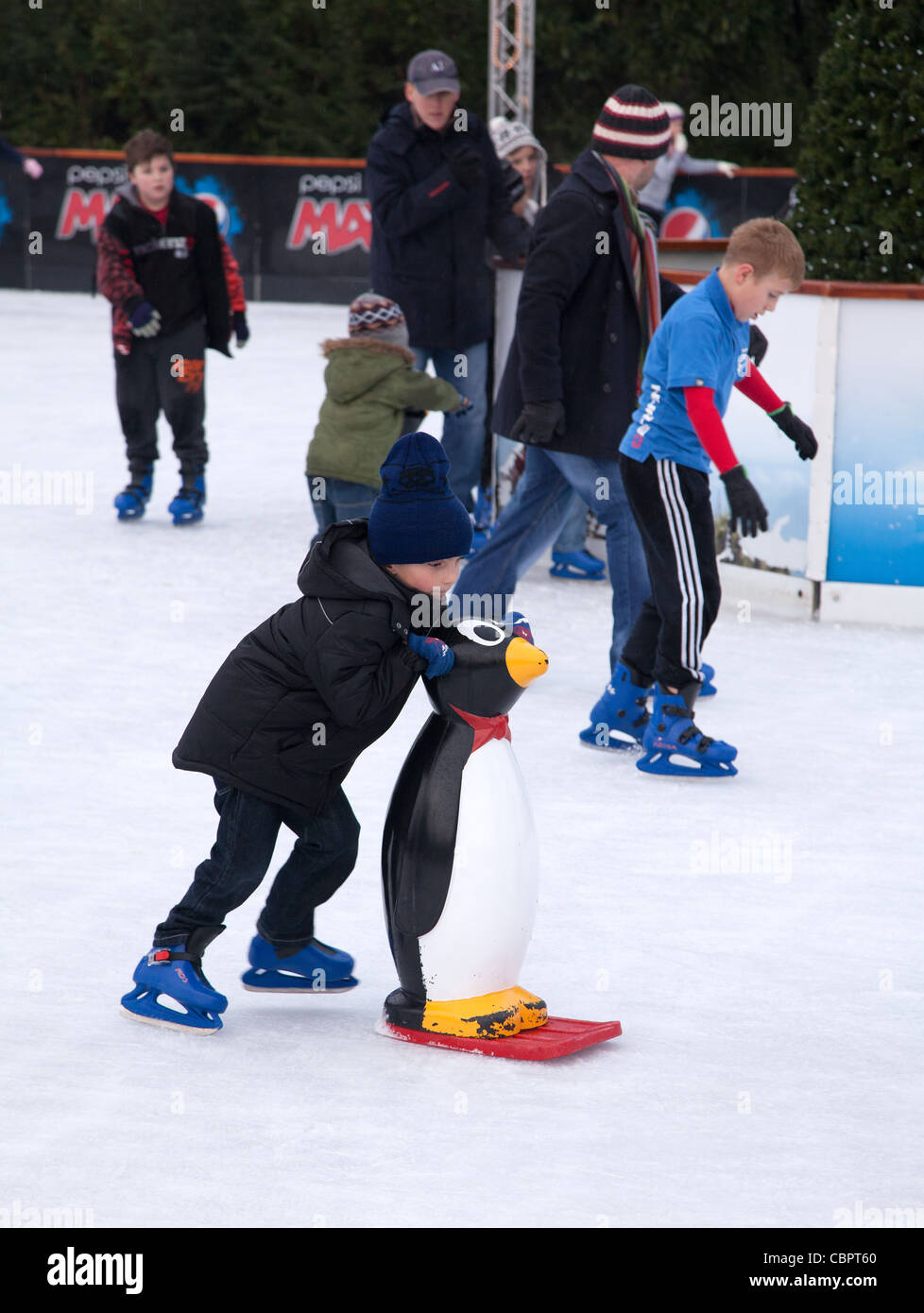 Learning to ice stake - Stock Image