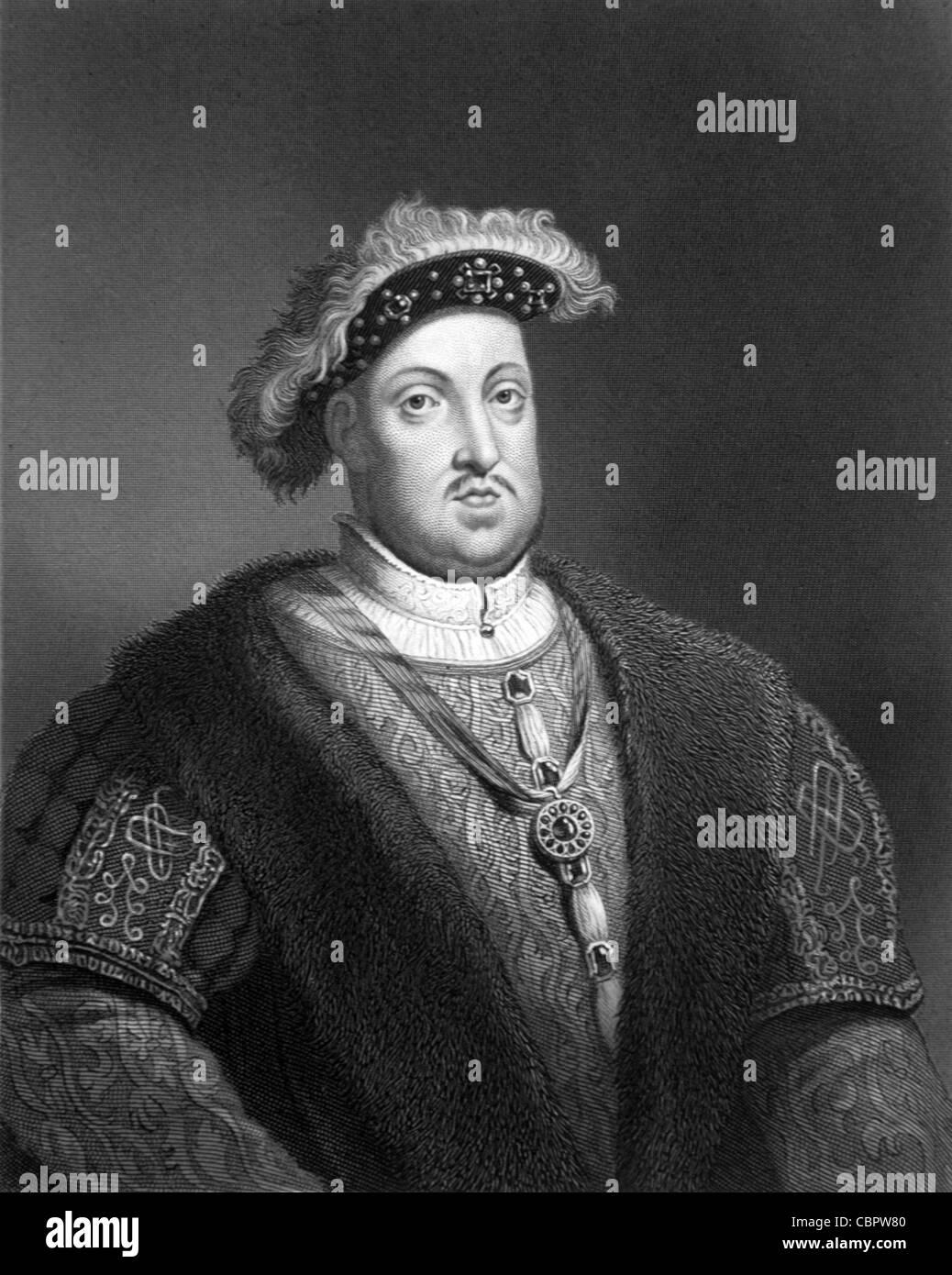 Henry VIII (1491-1547) Tudor King of England (1509-47) & Founder of the Church of England. Portrait. c19th Engraving - Stock Image