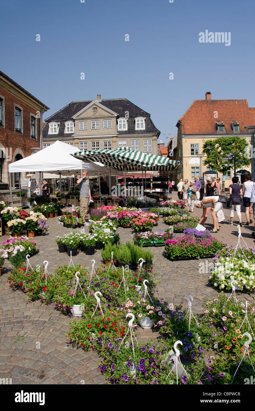 Denmark, Helsingoer. Downtown flower market. - Stock Image