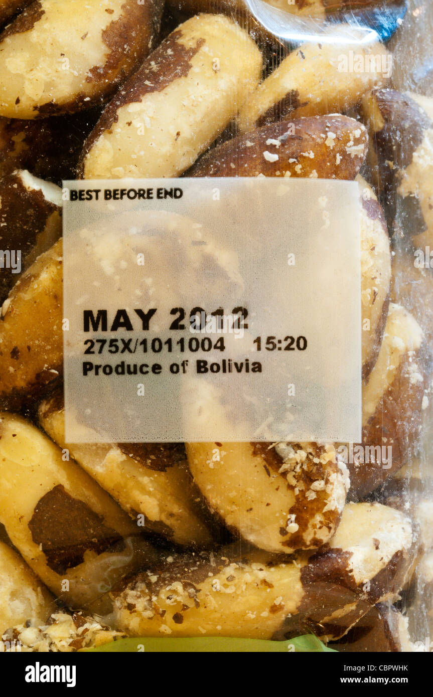 A Best Before date of May 2012 on a packet of Brazil nuts - Stock Image