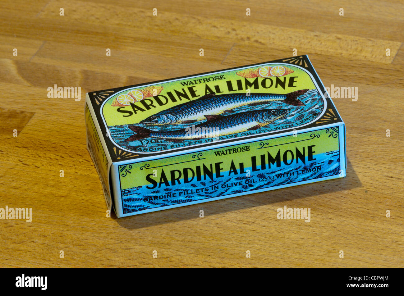 An unopened tin of Waitrose Sardine Al Limone - sardine fillets in olive oil with lemon. Stock Photo