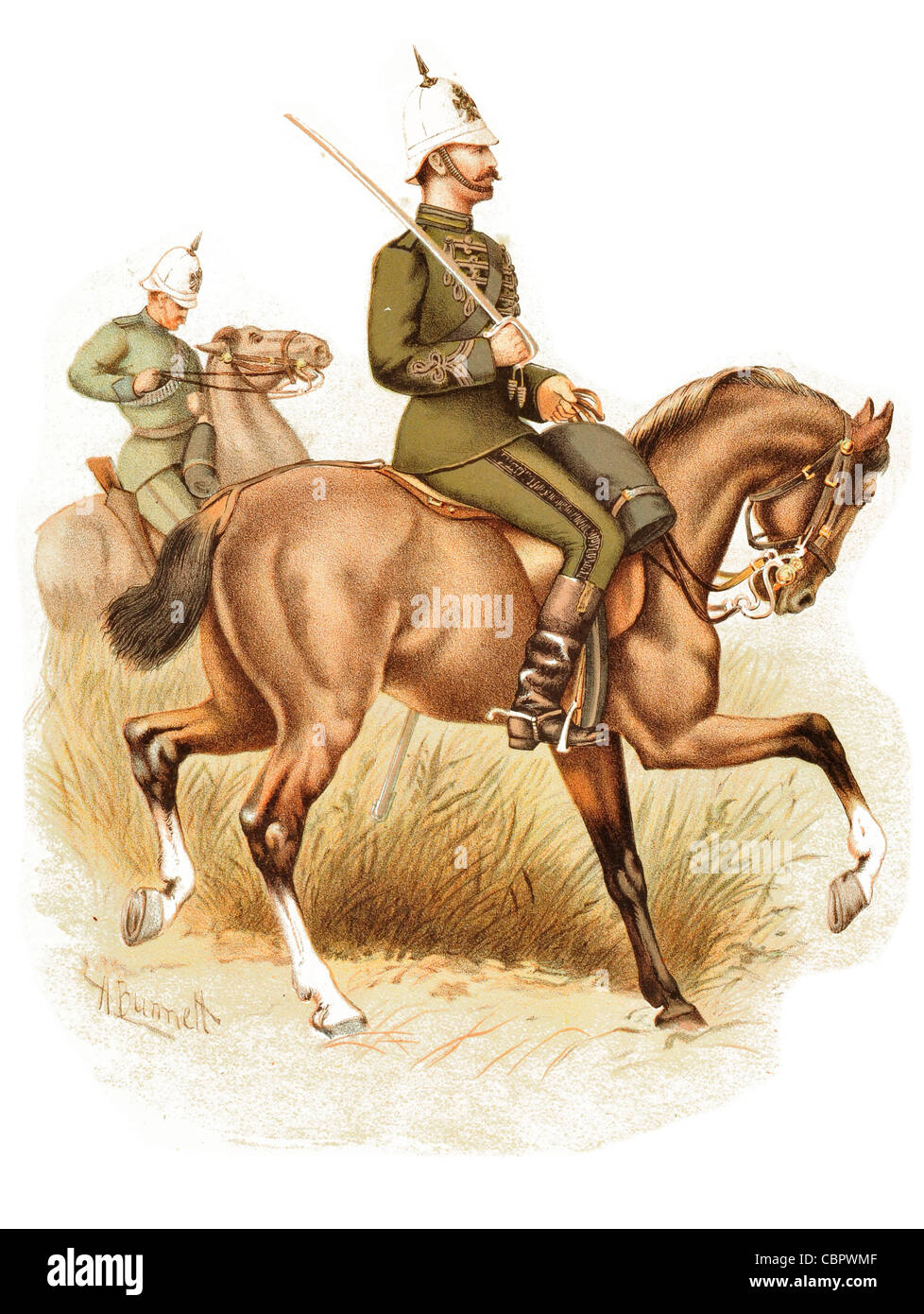 The Cape Mounted Rifles Riflemen  cavalry horse rider charge Hussar - Stock Image