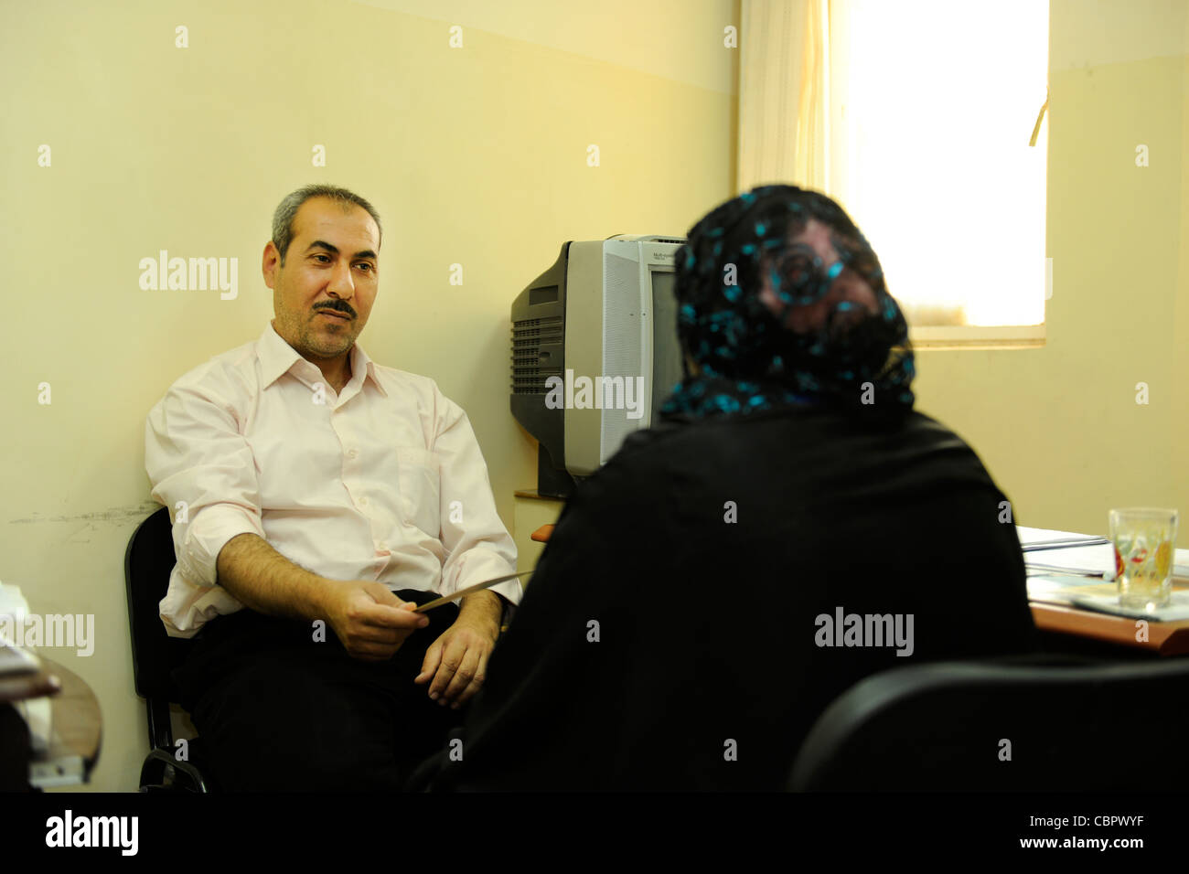 A clinic for psychiatric stigma counseling at a hospital in Sadr City Baghdad - Stock Image