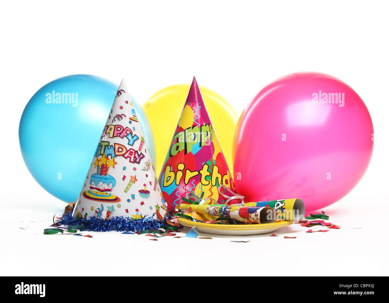 Birthday party decorations isolated on white. - Stock Image
