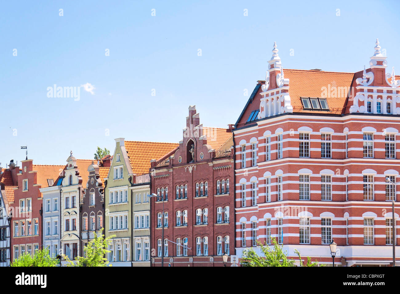 Port city at Baltic sea - Gdansk. Monuments in old town. - Stock Image