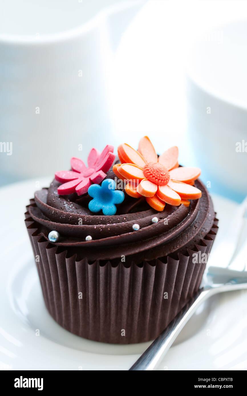 Chocolate cupcake - Stock Image