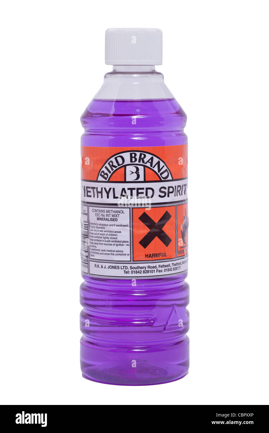 A bottle of Bird Brand Methylated Spirits ( Meths ) on a white background - Stock Image