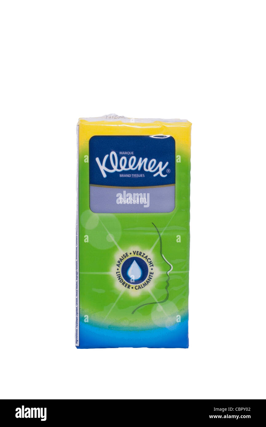 A packet of Kleenex balsam soft tissues on a white background - Stock Image
