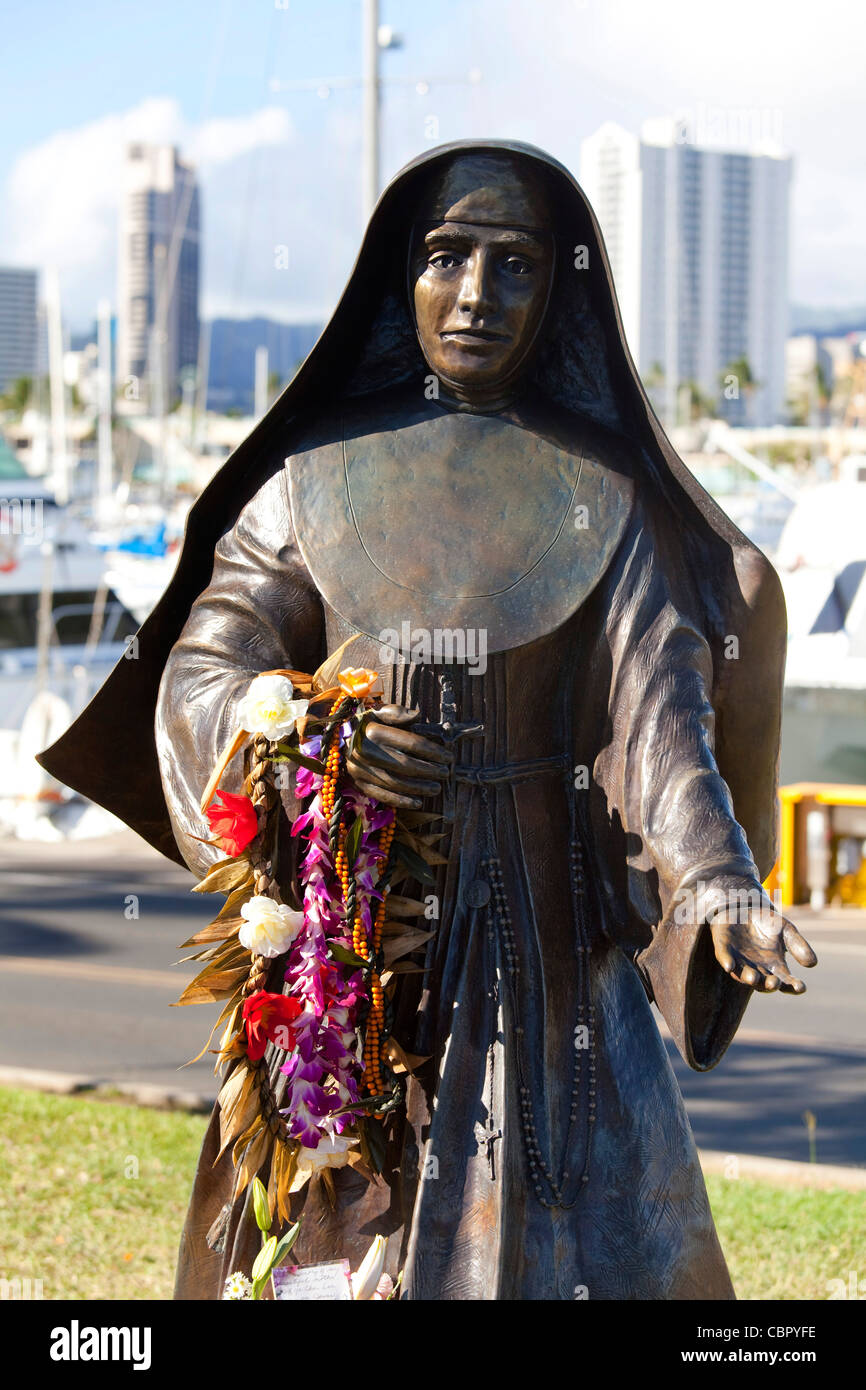 Mothar Marianne Cope, Ala Moana Beach Park, Waikiki, Honolulu, Oahu, Hawaii - Stock Image