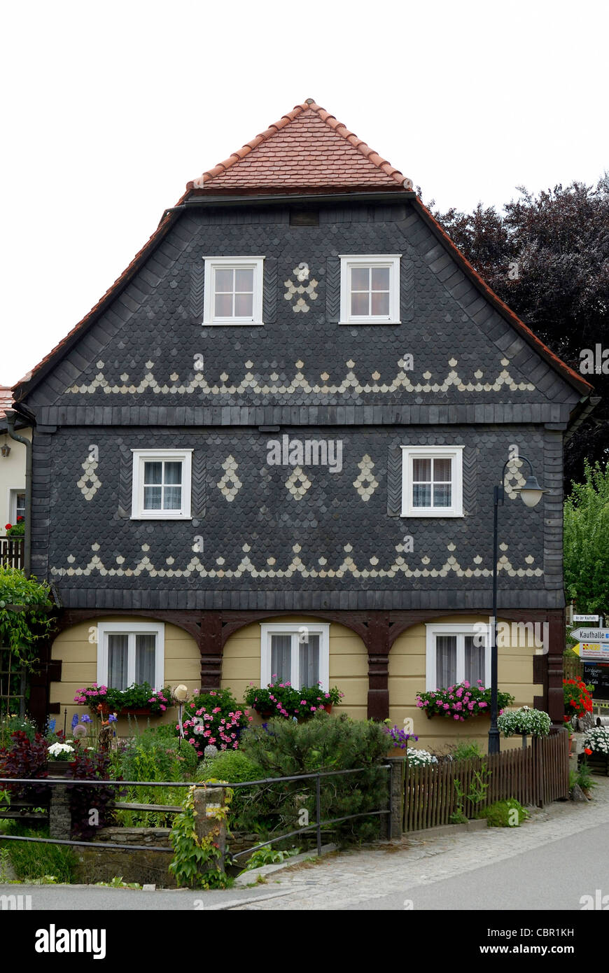 Umgebindehaus in a traditional style in the Upper Lusatia in east Saxons. - Stock Image