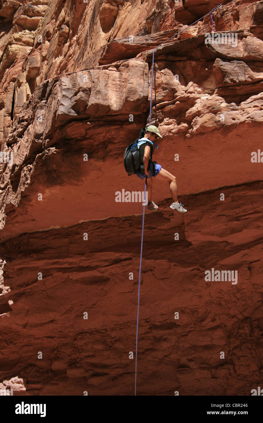 canyoneering asian woman rappels off a sandstone ledge - Stock Image
