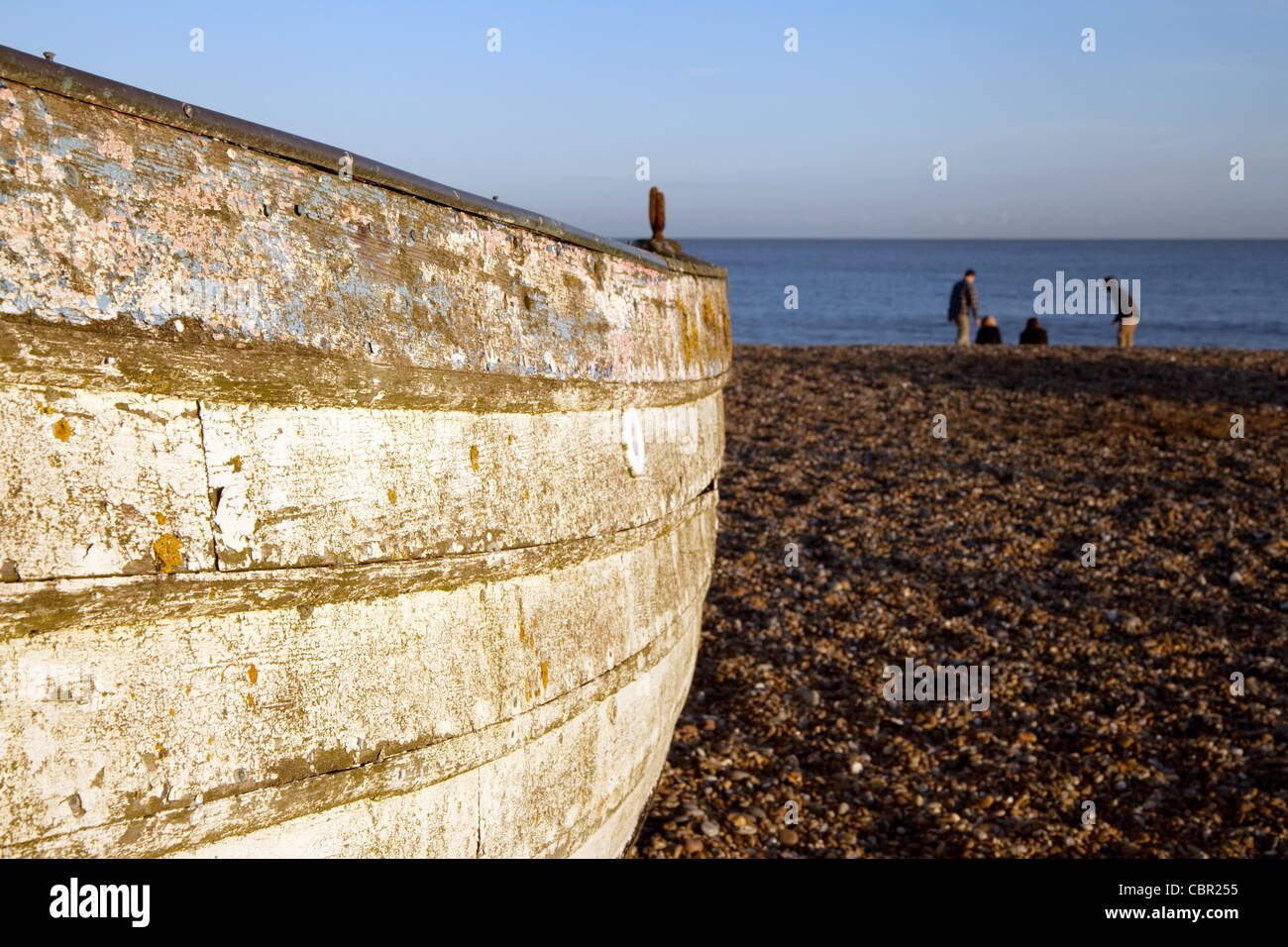 Rowing boat, Aldeburgh beach Suffolk UK - Stock Image