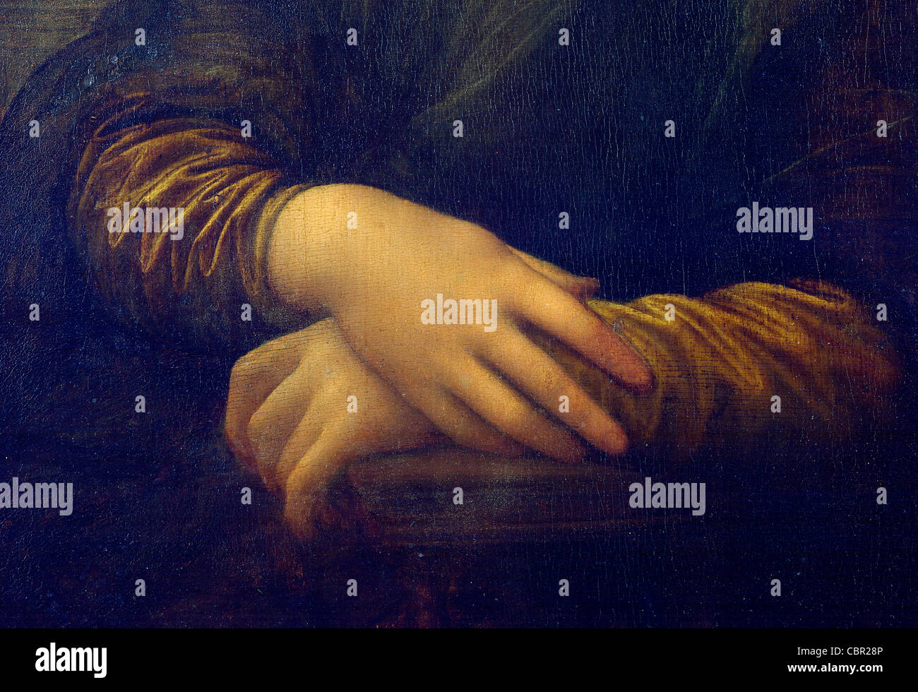 Hands of Mona Lisa by Leonardo da Vinci - Stock Image