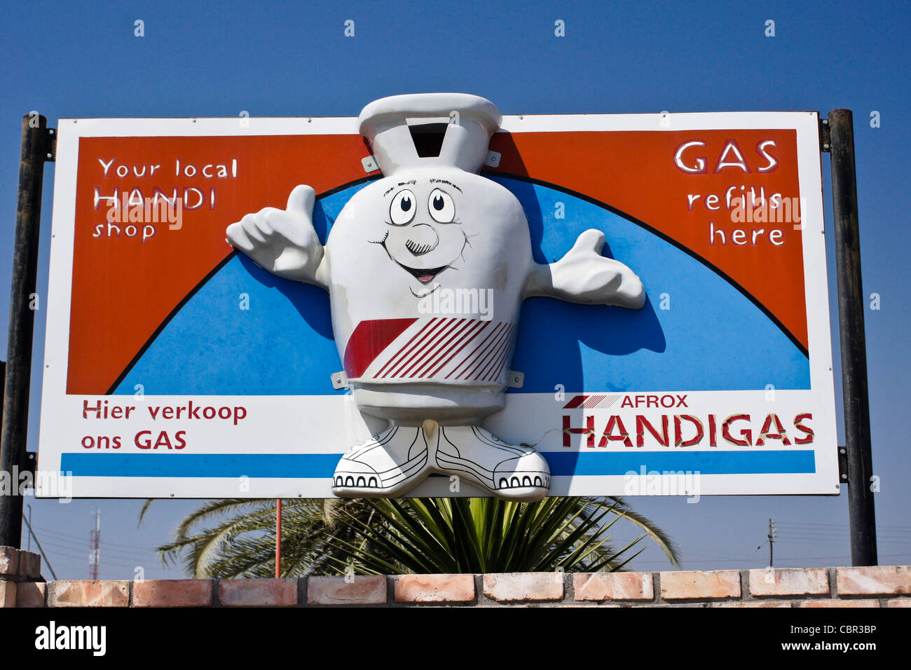 Billboard at gas station in Namibia - Stock Image
