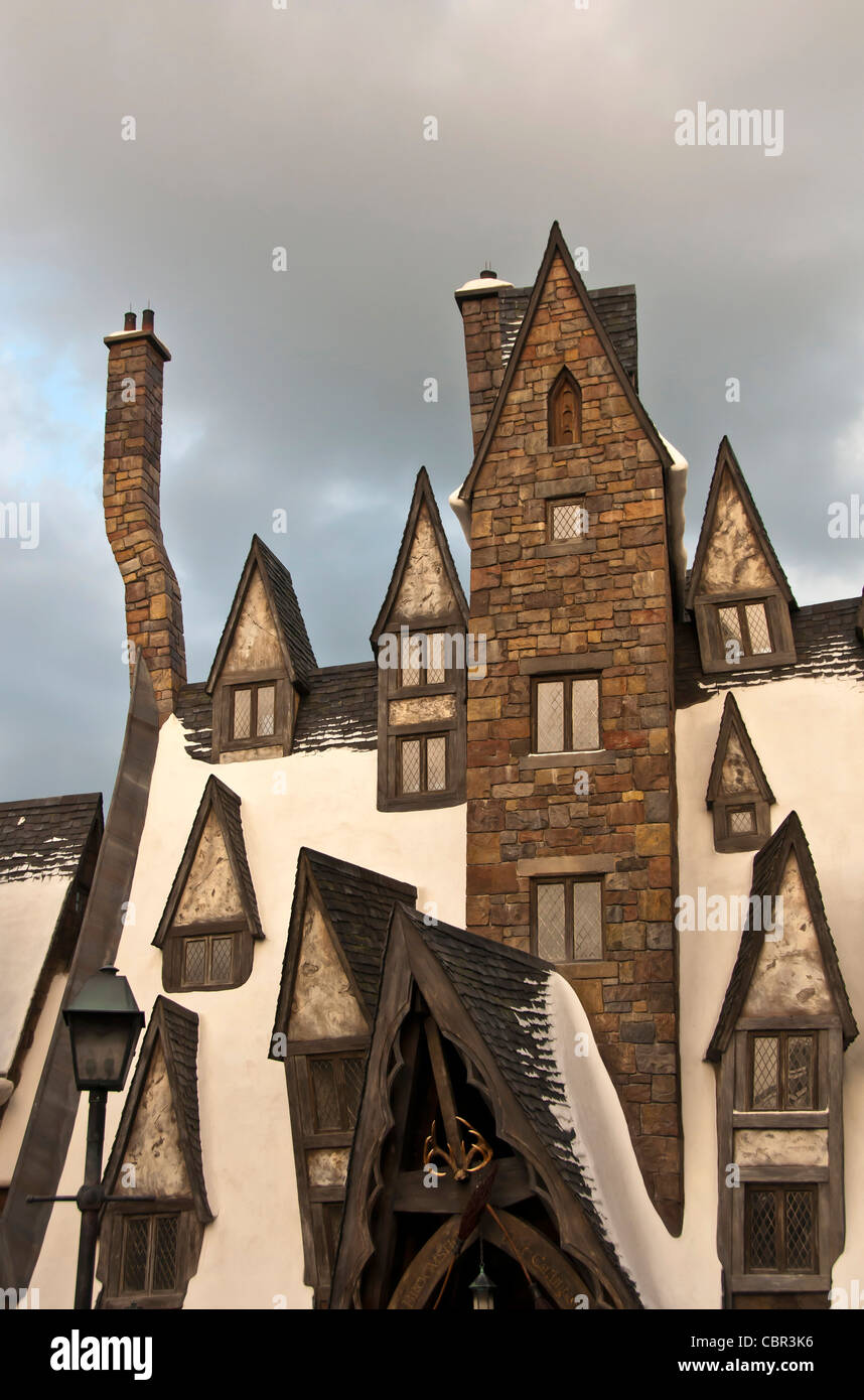 Hogsmeade Village odd angle buildings at  Wizarding World of Harry Potter at Universal Orlando Resort - Stock Image