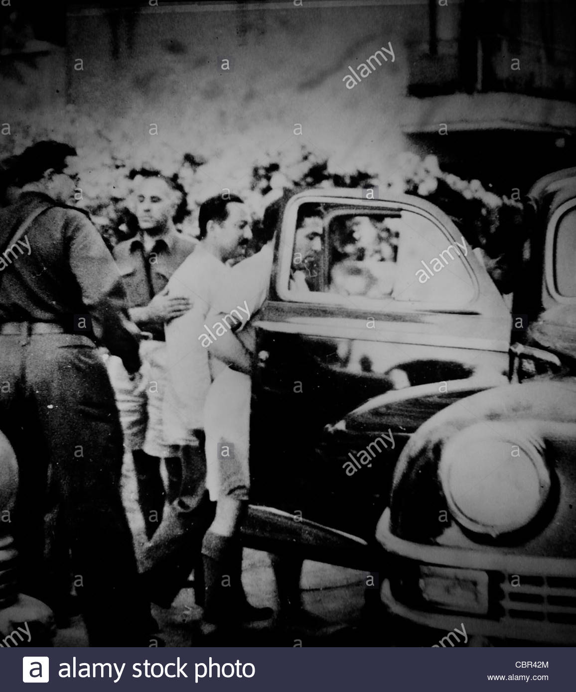 A B&W photograph depicting Arab Jaffa leaders on their way to sign the surrender agreement during the 1948 Israel - Stock Image