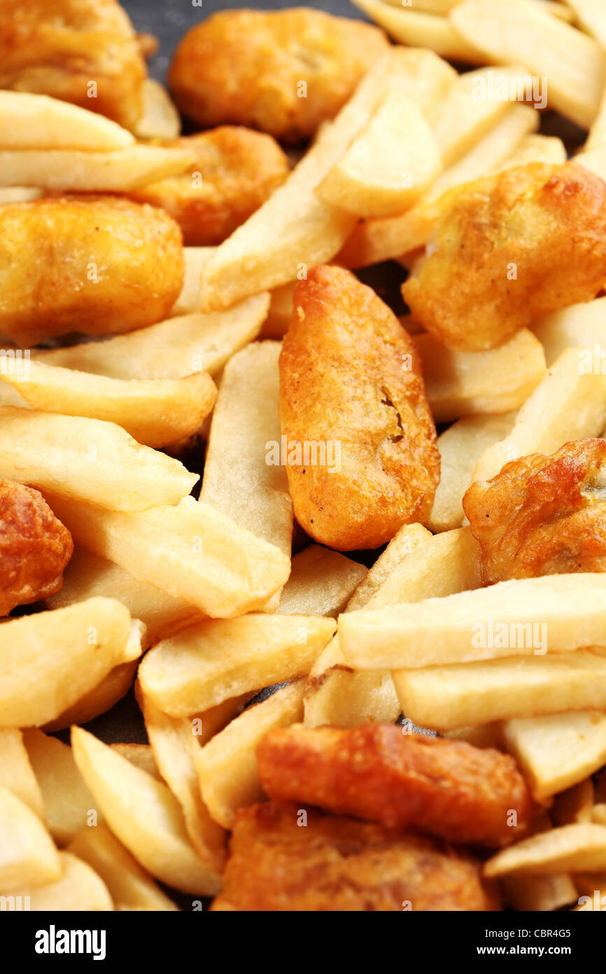 Fried fish and chips baking tray - Stock Image
