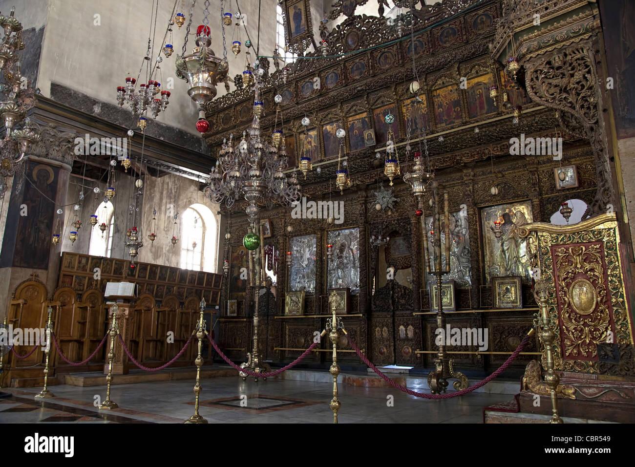 Very rare photos. Interior of church of the Nativity of Jesus Christ. Jesus Christ cradle - Stock Image