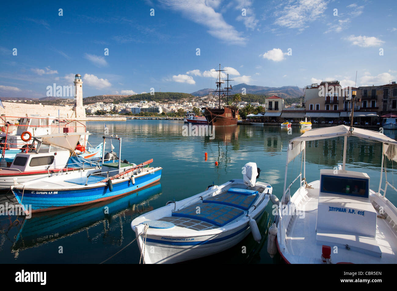 Fishing boats in the Venetian harbour, Rethymnon, Crete, Greece. Stock Photo