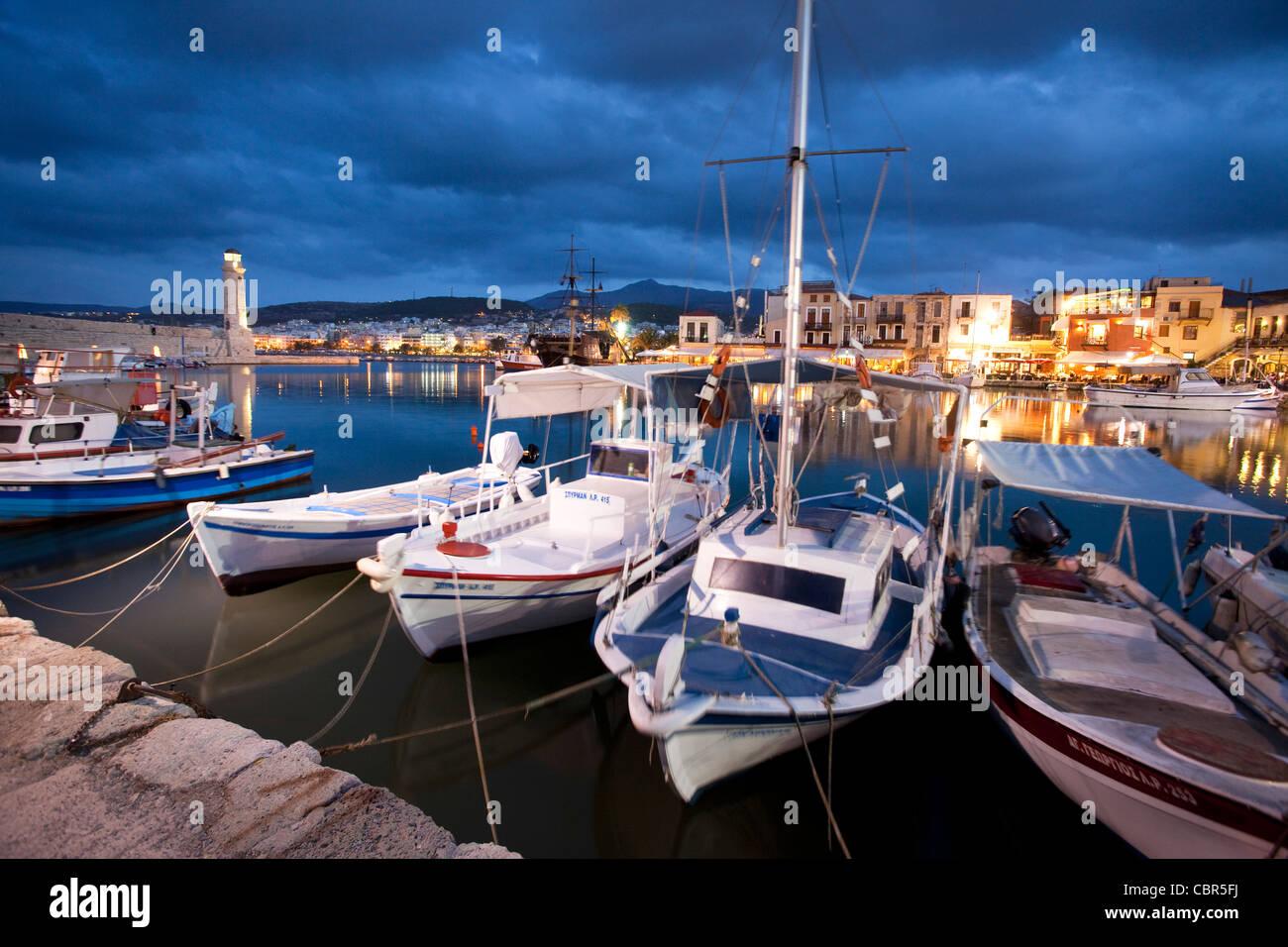 Dusk over the Venetian harbour of Rethymnon, Crete, Greece. Stock Photo
