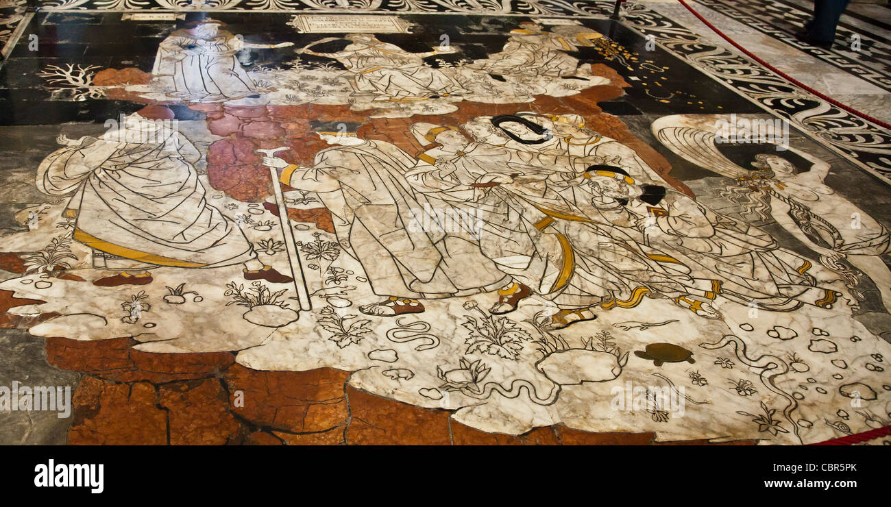 Part of the marble artwork 'pavement' in Siena Cathedral by Pinturicchio called the Hill of Virtue or the - Stock Image